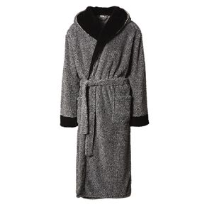 H&H Men's Shaggy Hooded Robe