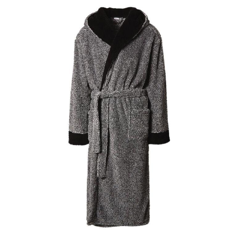 H&H Men's Shaggy Hooded Robe, Grey, hi-res