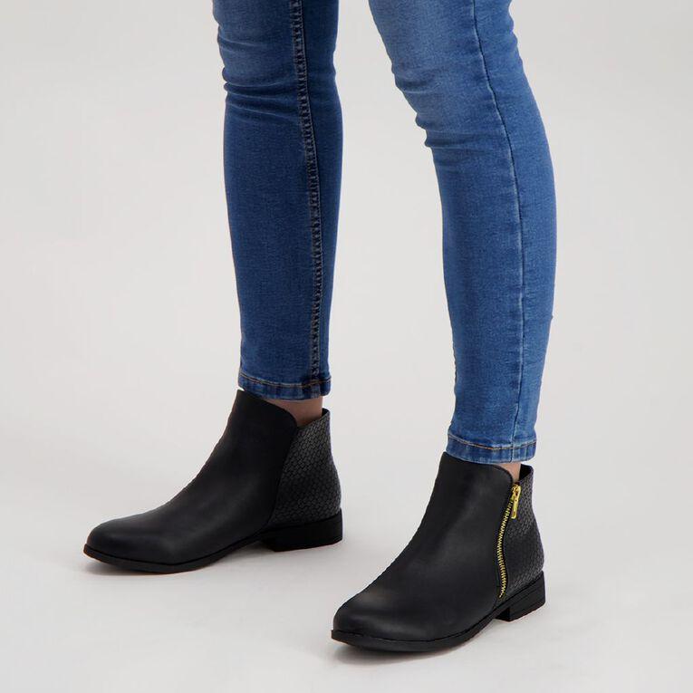 H&H Ankle Zip Flat Boots, Black, hi-res