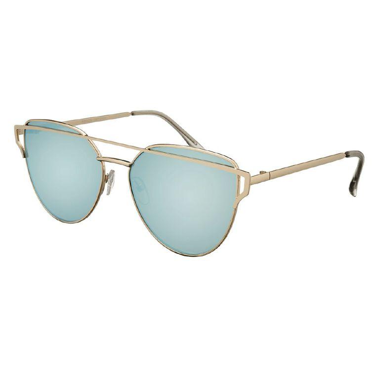 H&H Essentials Metal Browbar Mirror Sunglasses, Blue, hi-res