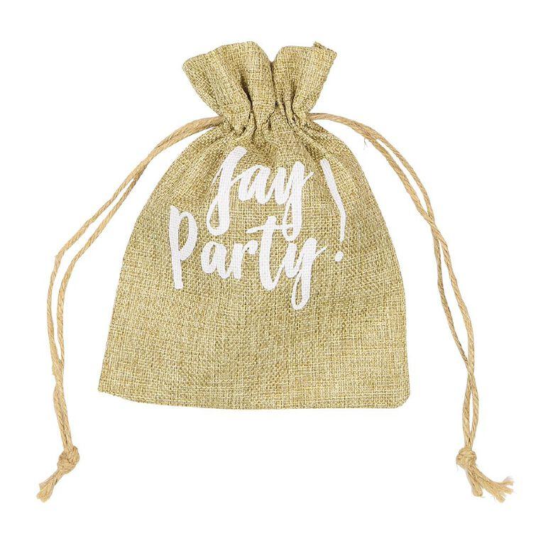 Party Inc Hessian Drawstring Bag 15cm x 19cm, , hi-res
