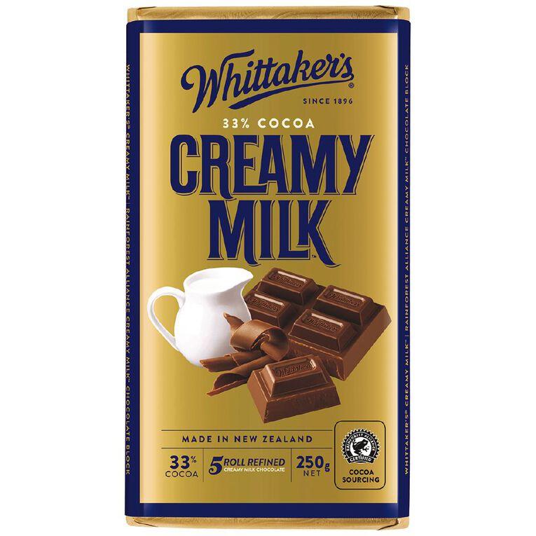 Whittaker's Creamy Milk Block 250g, , hi-res