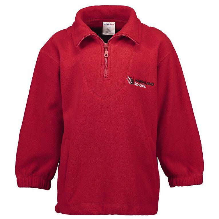 Schooltex Marshland Polar Fleece Top with Embroidery, Red, hi-res