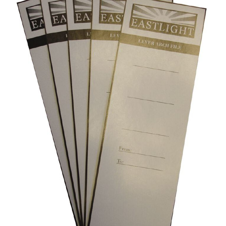 Eastlight Lever Arch Spine Labels 10 Pack White A4, , hi-res