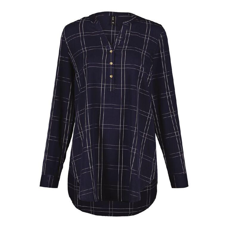 H&H Women's 1/4 Placket Shirt, Blue Dark, hi-res