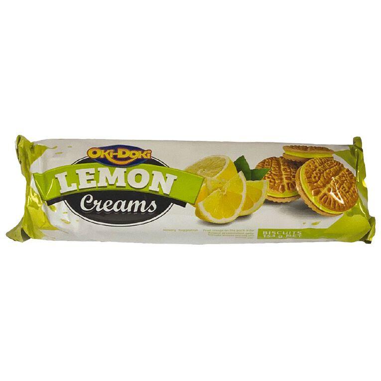 Oki Doki Lemon Cream Biscuits 154g, , hi-res