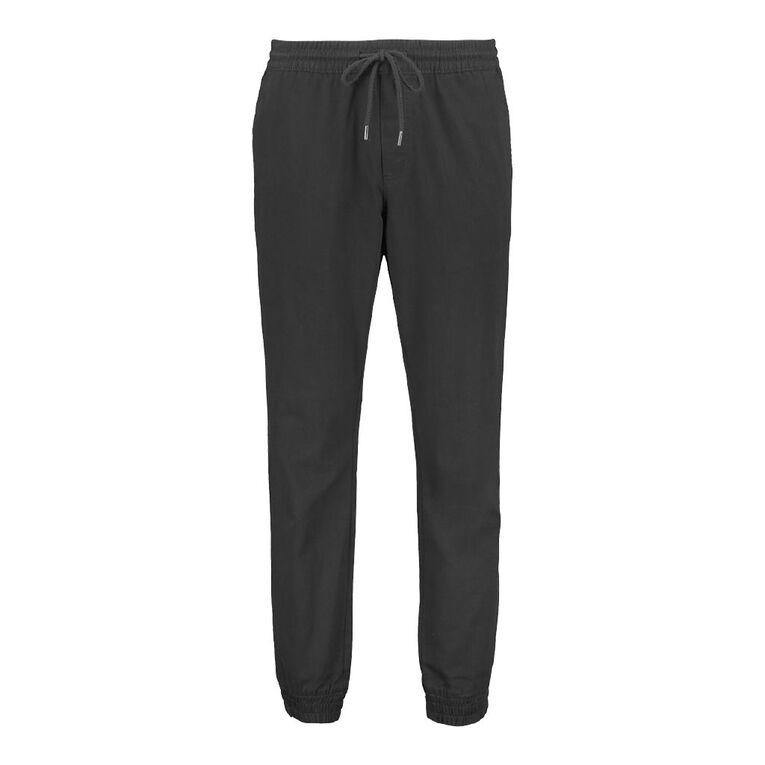H&H Men's Cuffed Jogger Chino Pants, Black, hi-res