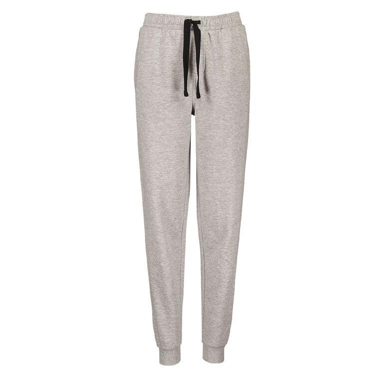 Young Original Plain Rib Cuff Trackpants, Grey Marle, hi-res