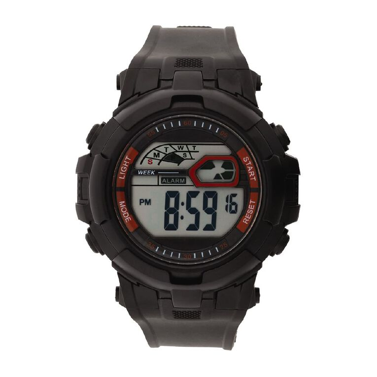 Active Intent Sports Digital Watch Silicone Strap Black & Red, , hi-res