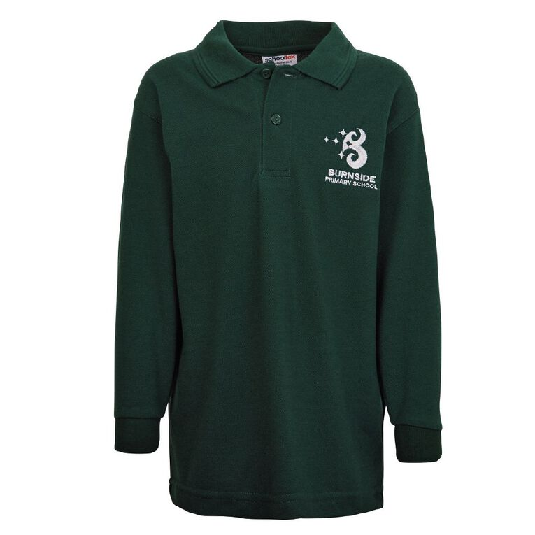 Schooltex Burnside Primary Long Sleeve Polo with Embroidery, Bottle Green, hi-res