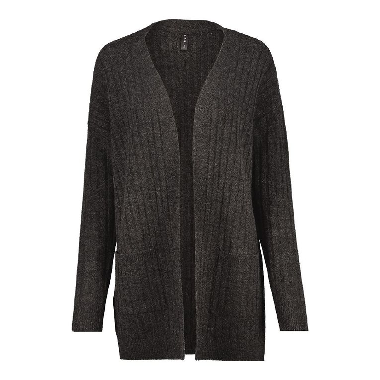 H&H Longline Spongy Knit Cardigan, Charcoal/Marle, hi-res image number null