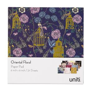 Uniti Oriental Floral Paper Pad 24 Sheets 6in x 6in