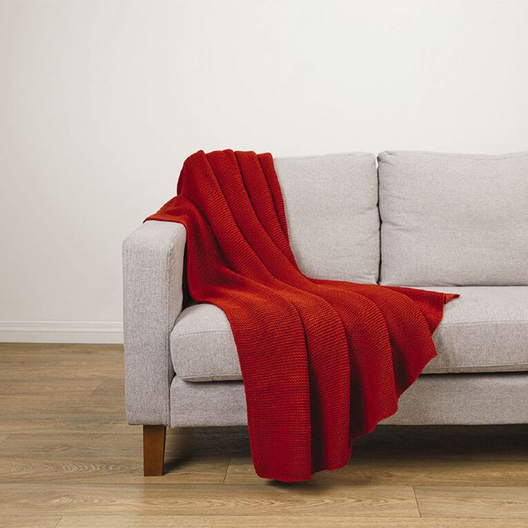 Living & Co Chunky Knit Throw Red 127cm x 152cm, Red, hi-res