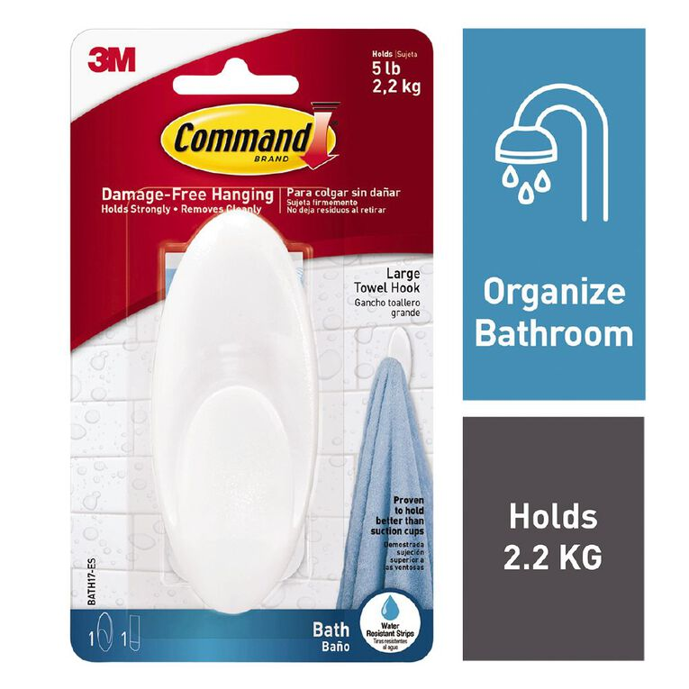 Command Frosted Bathroom Hook White Large, , hi-res