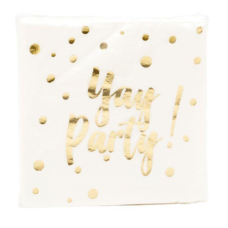 Party Inc Metallic Foil Confetti Printed Napkins 30 Pack, , hi-res