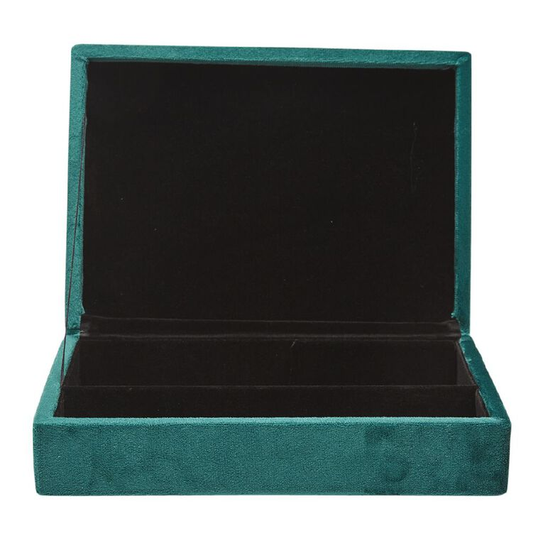 Living & Co Velvet Jewellery Box 21x15x4.5cm Green, , hi-res