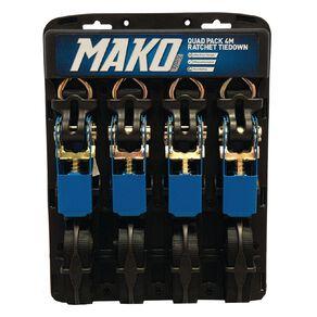 Mako Ratchet Tiedown 25mm x 4m 4 Pack
