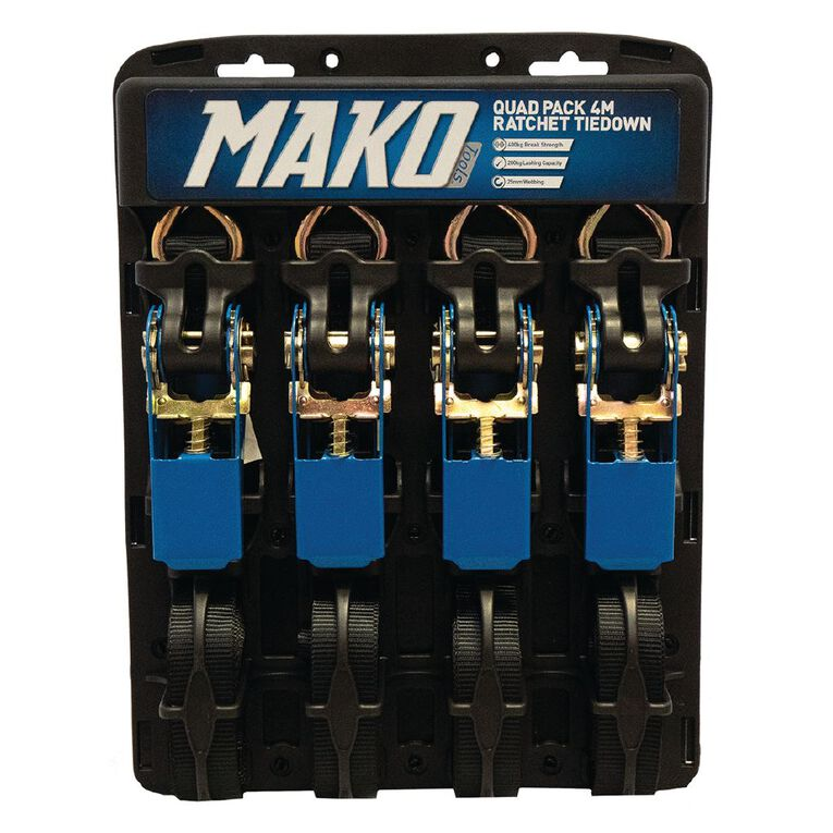 Mako Ratchet Tiedown 25mm x 4m 4 Pack, , hi-res