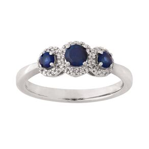 0.10 Carat Diamond 9ct Gold Synthetic Sapphire Trilogy Twist Ring