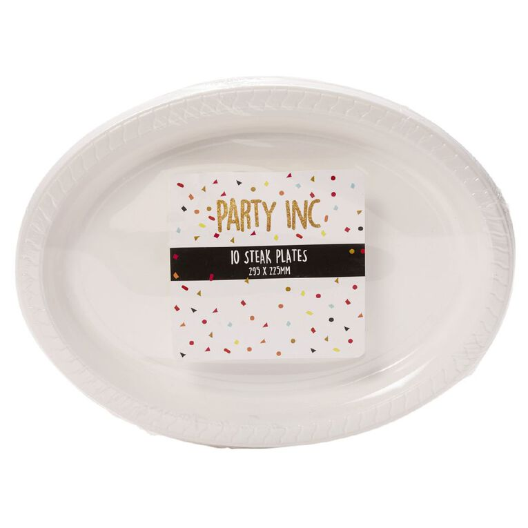Party Inc Steak Plates White 295mm x 225mm  10 Pack, , hi-res