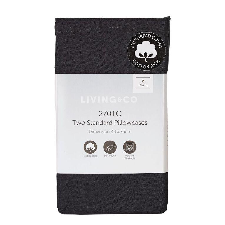 Living & Co Pillowcase Standard Cotton Rich 2 Piece Black 48cm x 73cm, Black, hi-res