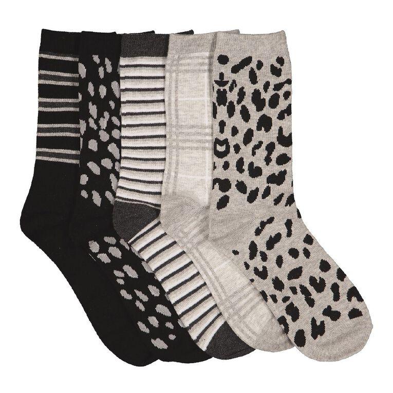 H&H Women's Crew Socks 5 Pack, Black/Grey, hi-res