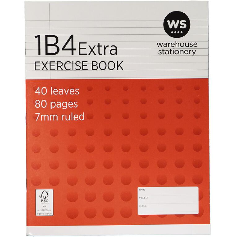 WS Exercise Book 1B4 Extra 7mm Ruled 40 Leaf Red, , hi-res