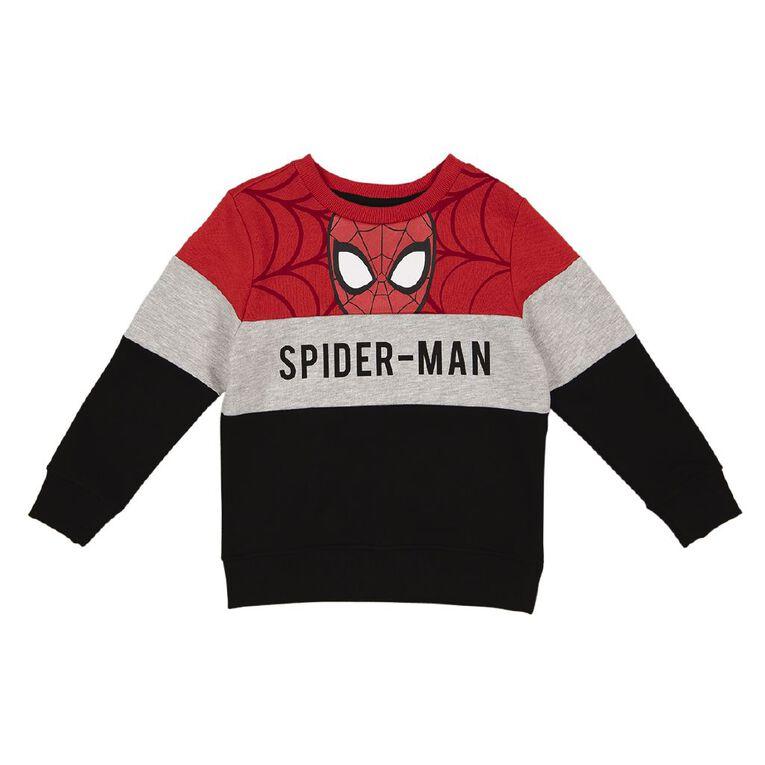 Marvel Spiderman Crew Print Sweatshirt, Grey Marle, hi-res