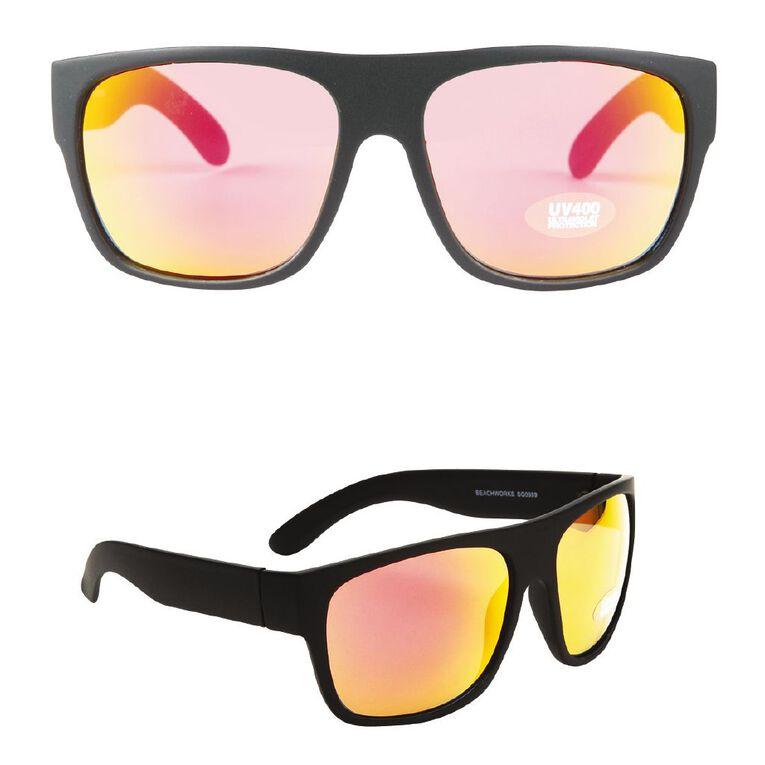 Beach Works Men's Reflector Sunglasses, Black, hi-res
