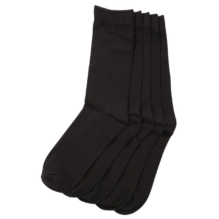 H&H Women's Crew Socks 5 Pack, Black, hi-res