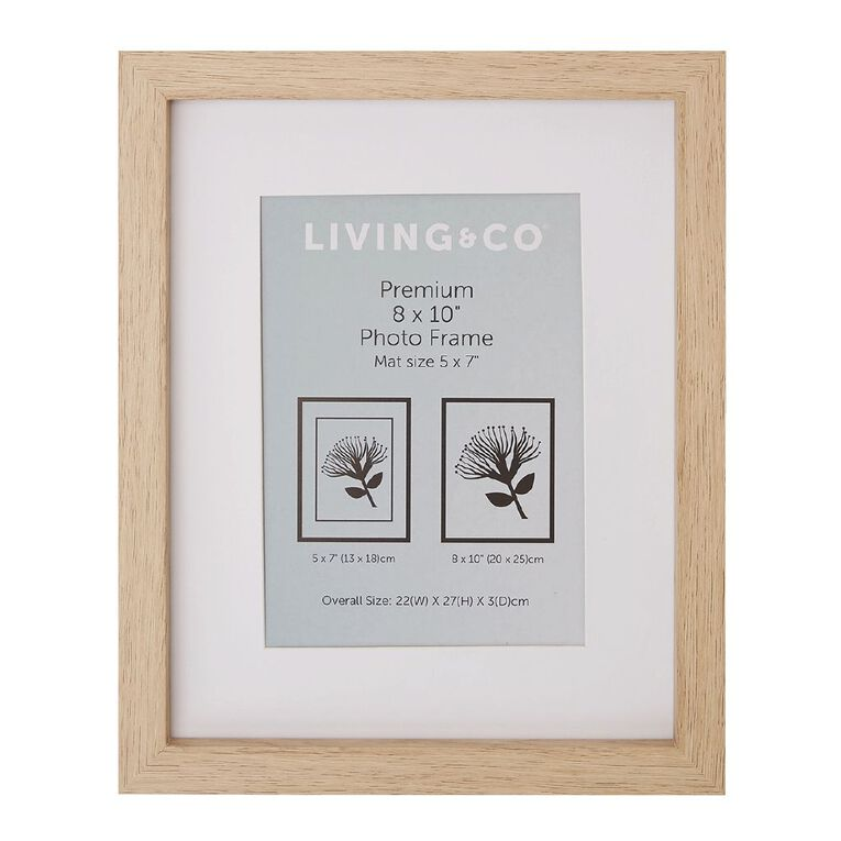 Living & Co Premium Photo Frame Natural 5in x 7in, Natural, hi-res