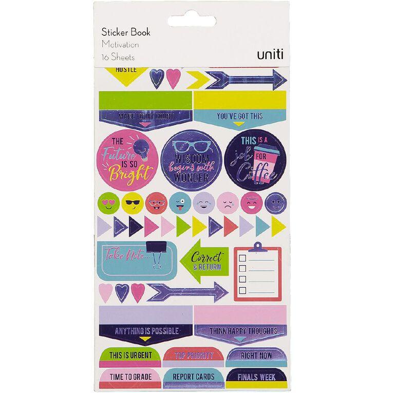 Uniti Sticker Book Motivation 16 Sheets, , hi-res