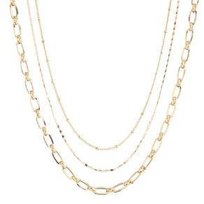 3 Layer Paper Clip Chain Gold Necklace