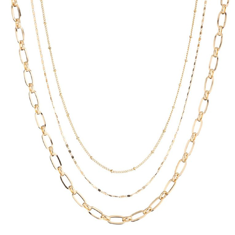 3 Layer Paper Clip Chain Gold Necklace, , hi-res