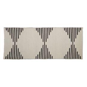 Living & Co Diamond Border Cotton Area Runner White 80cm x 200cm