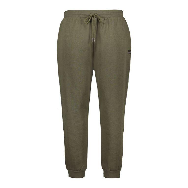 H&H Plus Women's Plus Rib Cuff Trackpants, Khaki, hi-res