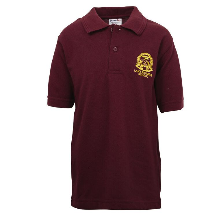Schooltex Lake Brunner Short Sleeve Polo with Embroidery, Burgundy, hi-res