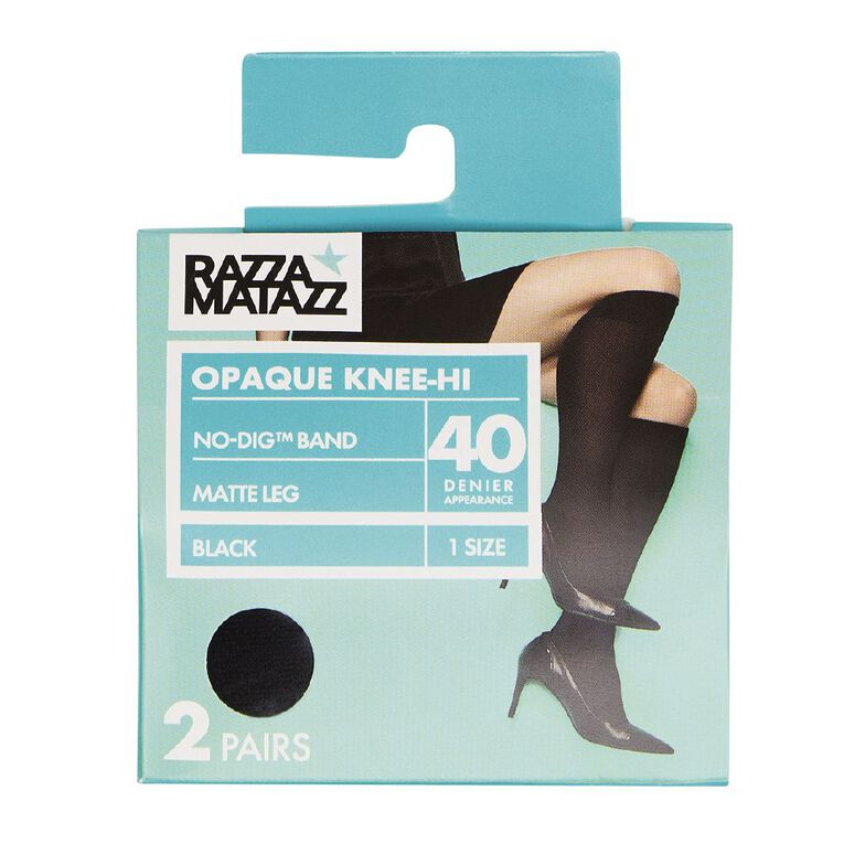 Razzamatazz Women's Opaque Kneehigh 2 Pack, Black NewPak HGD, hi-res