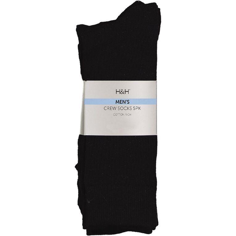 H&H Men's Crew Socks 5 Pack, Navy, hi-res image number null