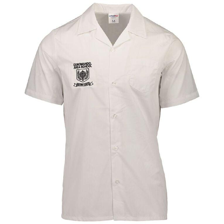 Schooltex Coromandel Area School Short Sleeve Shirt, White, hi-res