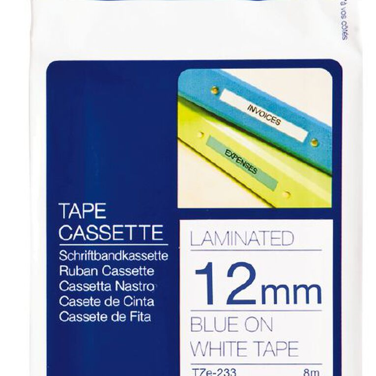 Brother P-Touch Tape Tze-233 12mm 8m Blue On, , hi-res