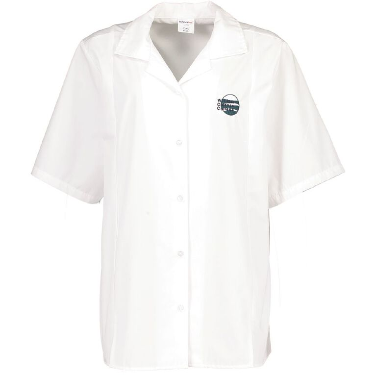 Schooltex William Colenso College Blouse Short Sleeve with Embroidery, White, hi-res