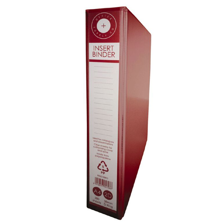 Office Supply Co 2D 38mm Ringbinder Red A4, , hi-res