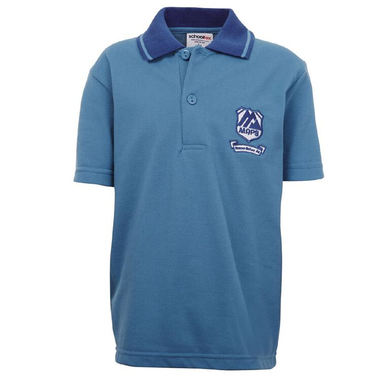 Schooltex Mt Albert Striped Collar Polo with Embroidery, Blue/Royal, hi-res