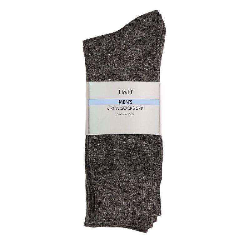 H&H Men's Crew Socks 5 Pack, Charcoal, hi-res