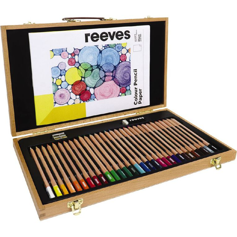 Reeves Art Set Wooden Box Colour Pencil 34 Piece, , hi-res