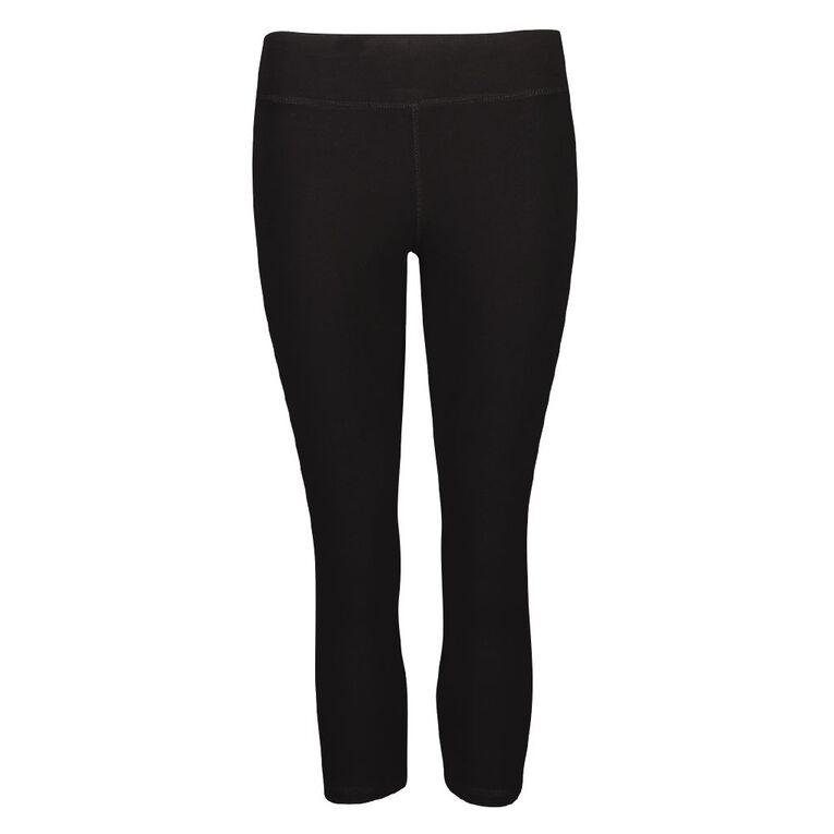 Active Intent Women's Cotton Elastane Crop Leggings, Black, hi-res