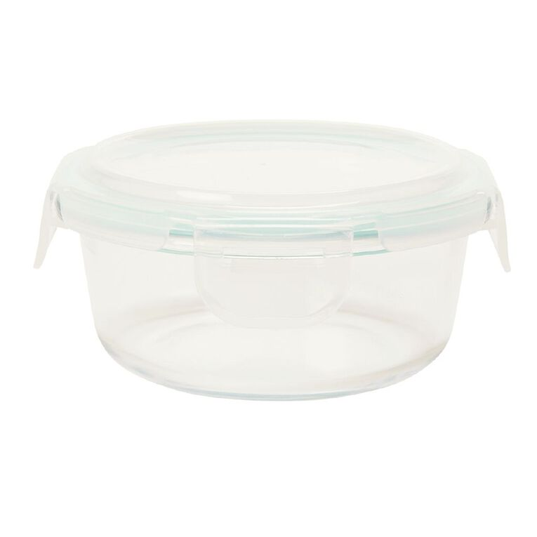 Living & Co Glass Container with Clips Round Clear 300ml, , hi-res image number null