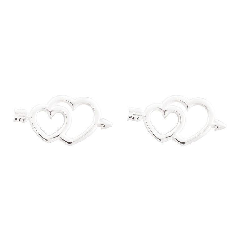 Sterling Silver Cupid Heart Stud Earring, , hi-res