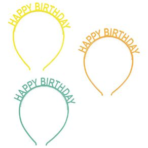Party Inc Happy Birthday Headbands 3 Pack Assorted